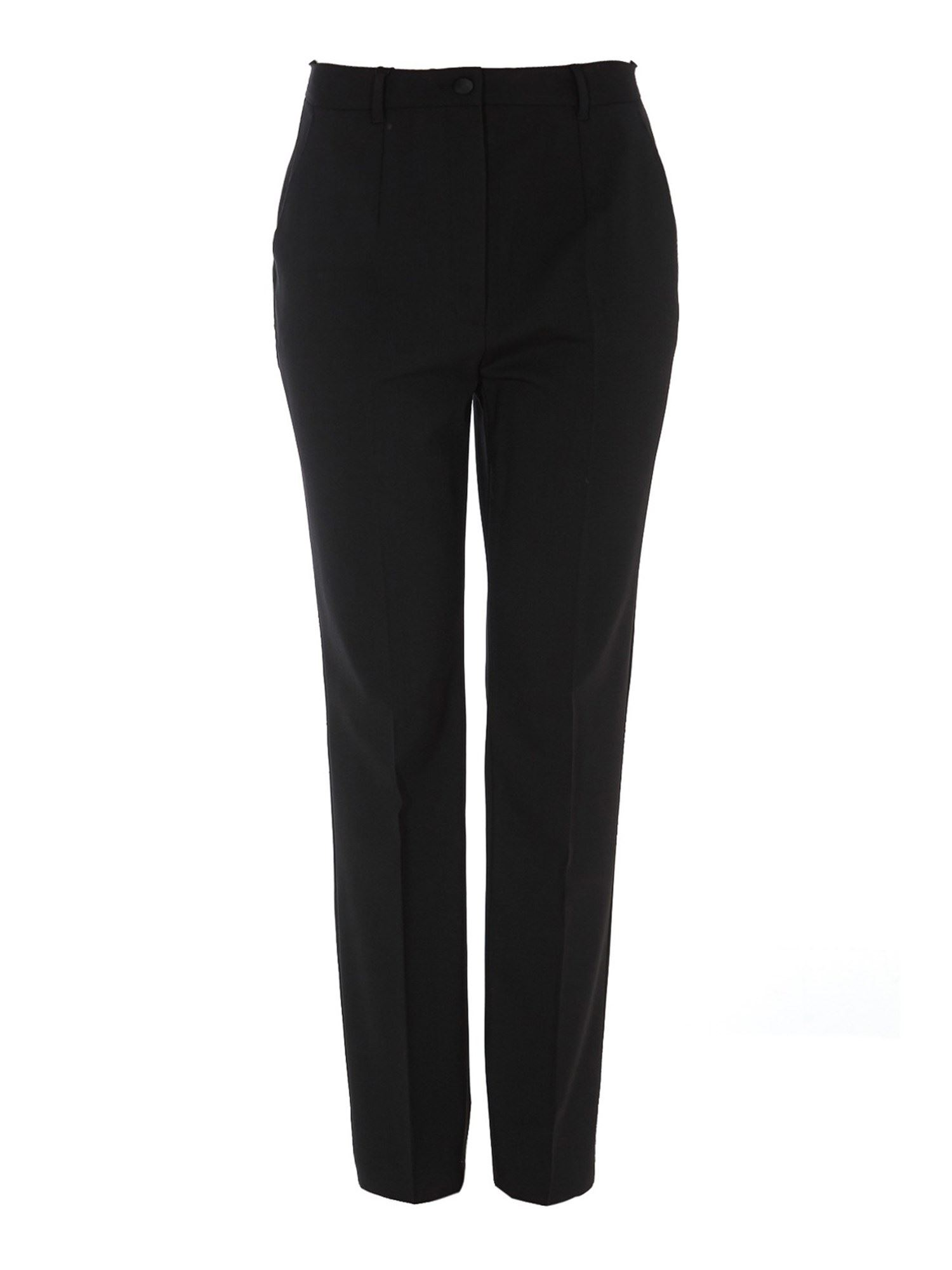 Dolce & Gabbana Stretch Wool Carrot Fit Trousers In Black