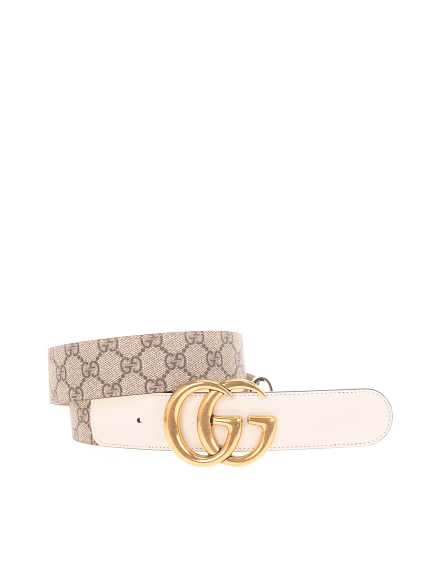 Gucci GG SUPREME BELT IN BEIGE AND WHITE