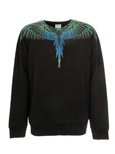 Marcelo Burlon County Of Milan - Wings Regular sweatshirt in black blue neon