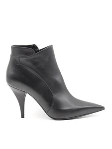Casadei - Heeled napa ankle boots in black