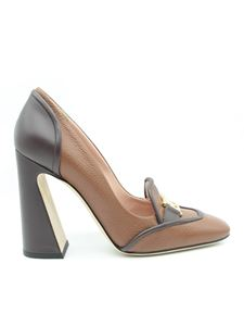 Alberta Ferretti - Heeled leather loafers in grey and brown
