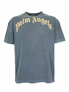 Palm Angels - Vintage Wash Curved Logo T-shirt in navy