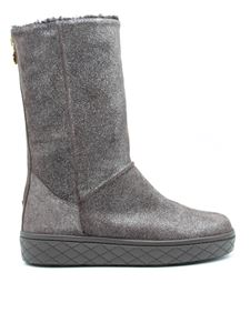 Moncler - Glittery suede boots in grey
