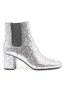 Saint Laurent - Damas glitter ankle boots in silver color