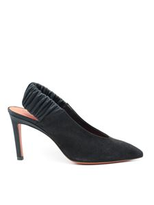 Santoni - Suede slingback pumps in black