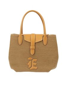 Ermanno Scervino - Straw and leather shopping bag in beige