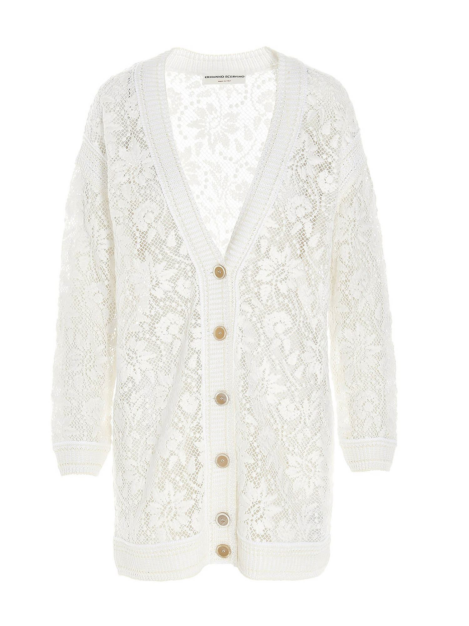 Ermanno Scervino V-NECK LACE CARDIGAN IN WHITE