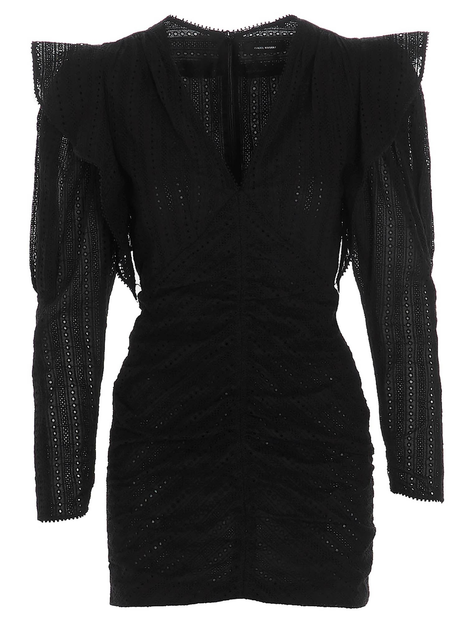 Isabel Marant ISABEL MARANT GETYA SHORT DRESS WITH OPENWORK IN BLACK