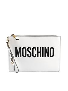 Moschino - Logo print leather clutch in white