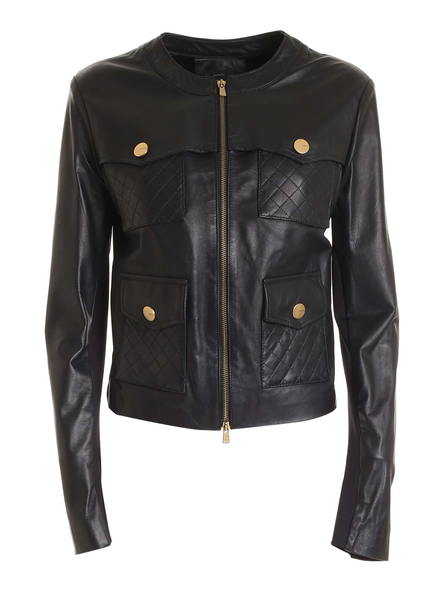 Pinko Leathers PINKO LEATHER JACKET IN BLACK