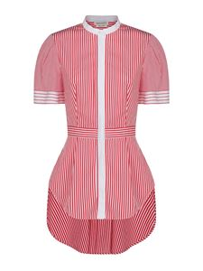 Alexander McQueen - Striped flared shirt in red and white