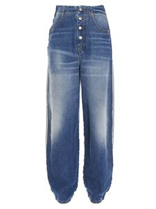 MM6 Maison Margiela - Spliced carrot jeans in blue and grey