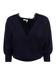 Chloé - Lace detail wool sweater in blue