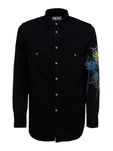 Diesel - Floral embroidery shirt in black