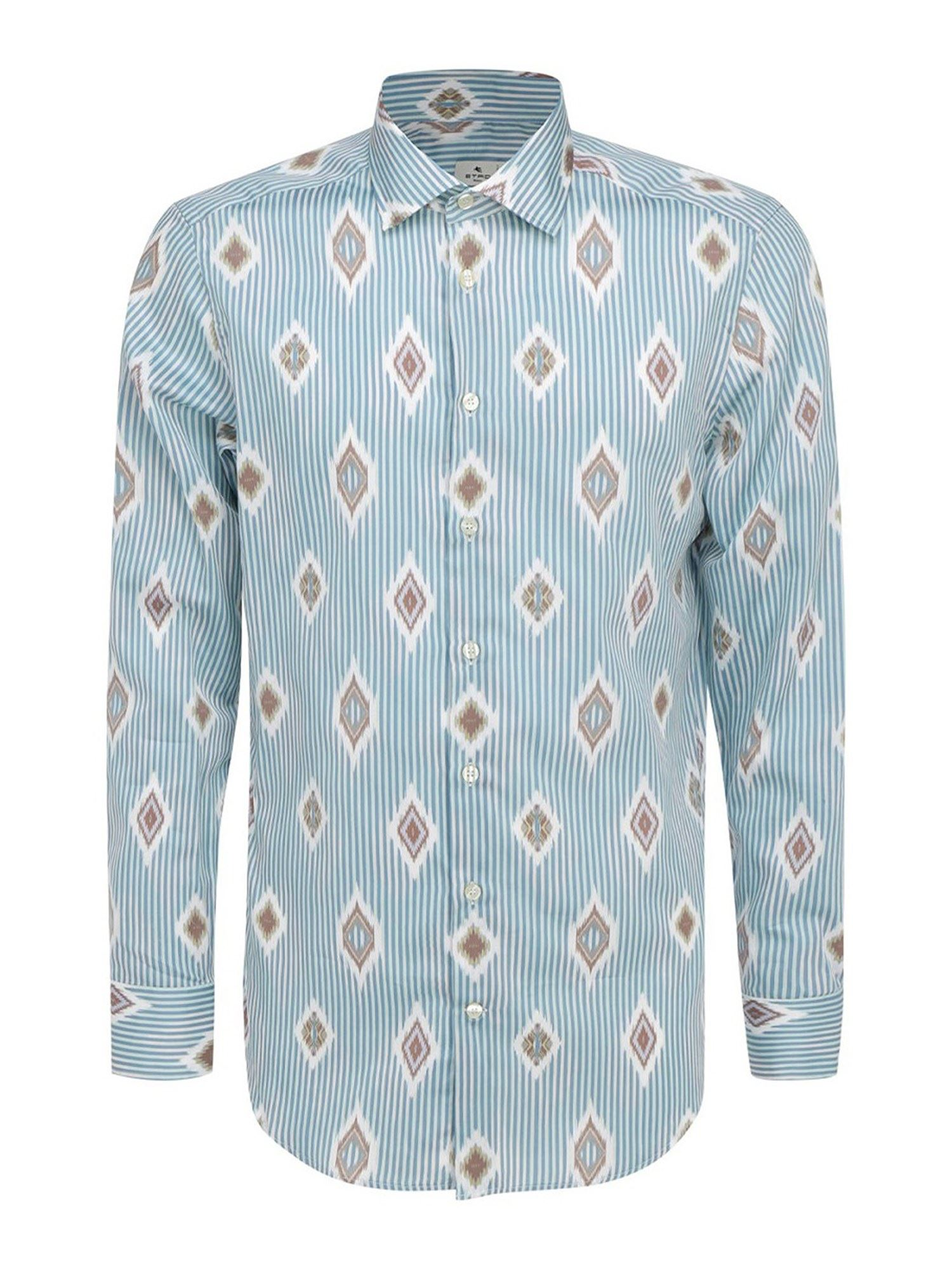 Etro LOZENGE PATTERN STRIPED MULTICOLOR SHIRT