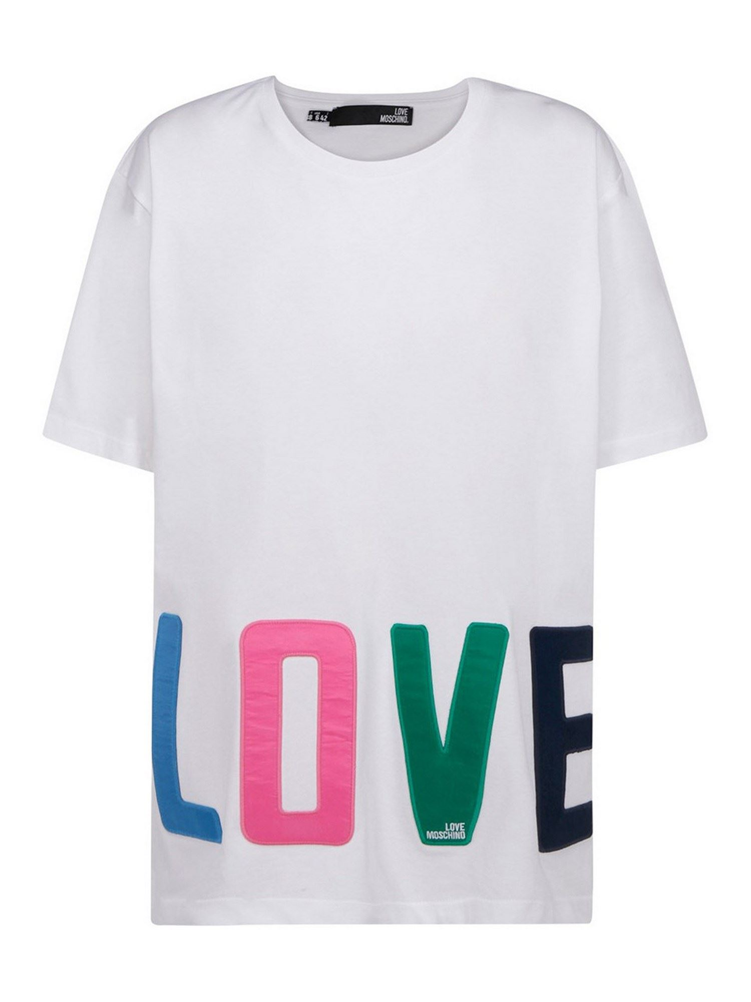 Love Moschino COTTON T-SHIRT WITH PATCHES IN WHITE