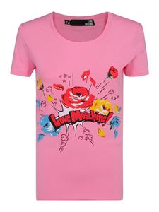 Love Moschino - T-shirt in cotone con stampa vintage rosa