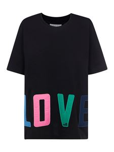 Love Moschino - T-shirt in cotone con patch nera