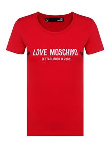 Love Moschino - T-shirt in cotone stampa logo rossa