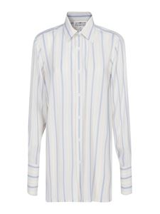 Maison Margiela - Striped viscose longuette shirt in white
