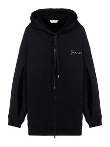 Marni - Cut-out sleeves cotton hoodie in black