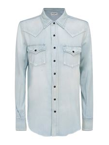 Saint Laurent - Denim cotton western shirt in light blue