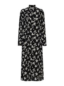 Saint Laurent - Floral print silk dress in black