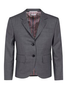 Thom Browne - Mélange wool single breasted blazer in grey