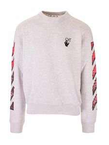 Off-White - Arrows and diagonals logo sweatshirt in grey