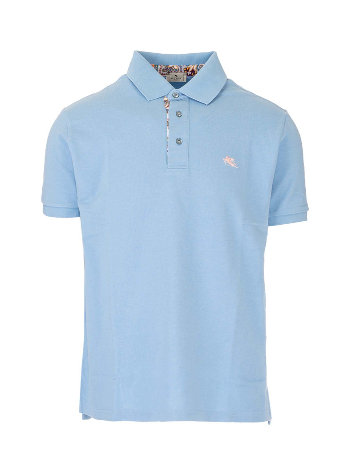Etro LOGO POLO SHIRT IN LIGHT BLUE
