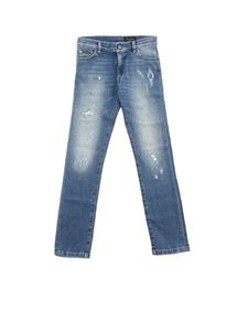 Dolce & Gabbana Jr - Destroyed effect jeans in light blue