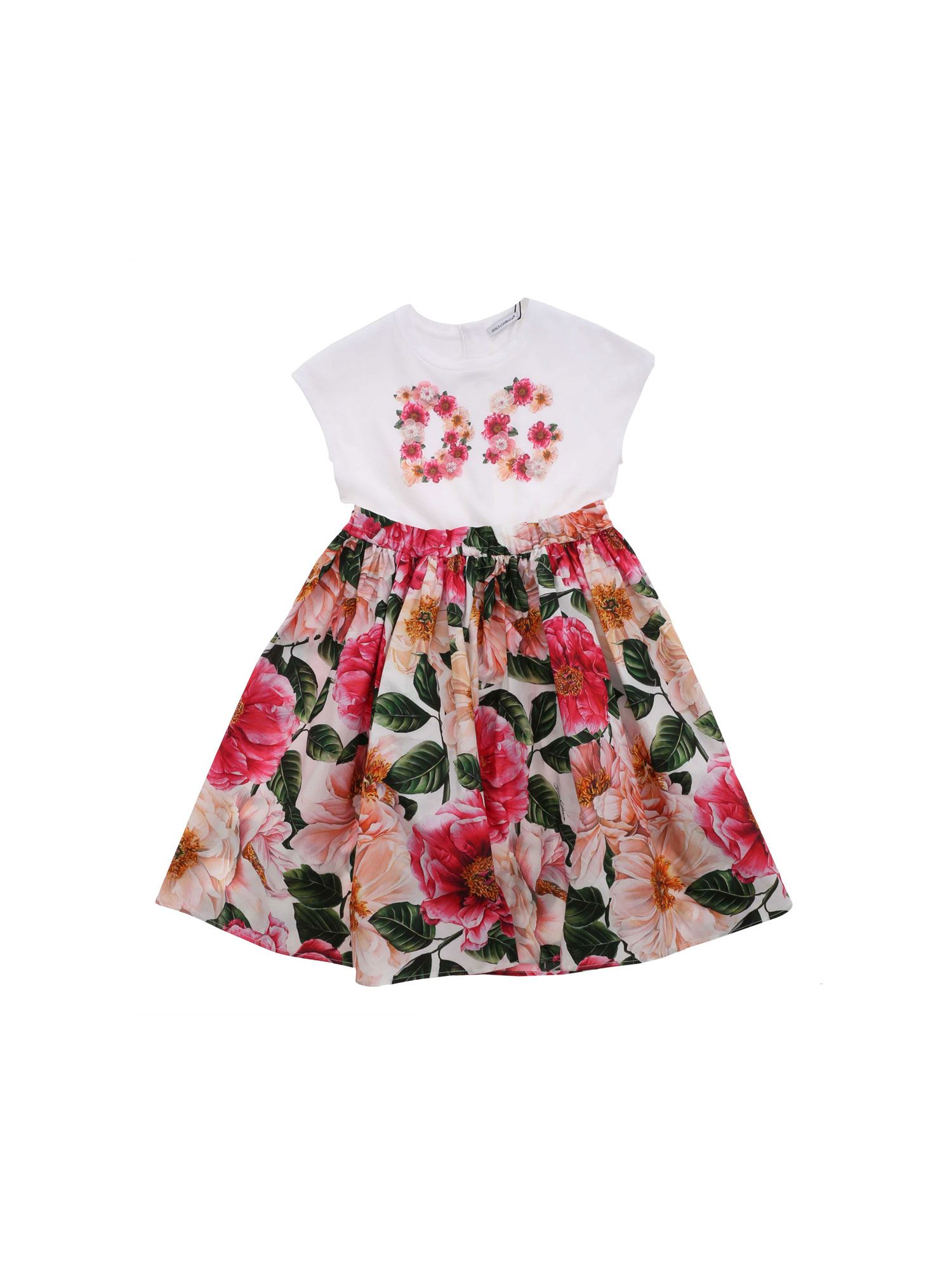 Dolce & Gabbana Jr FLORAL PRINT DRESS WHITE