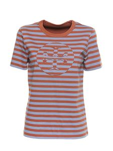 Tory Burch - Striped t-shirt in brown and light blue