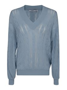 Agnona - Cable-knit cashmere sweater in light blue