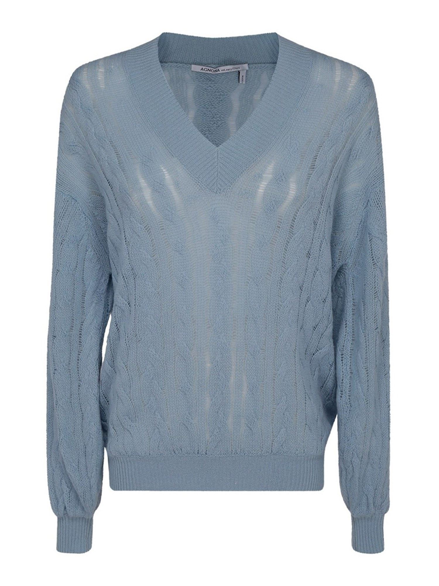 AGNONA CABLE-KNIT CASHMERE SWEATER IN LIGHT BLUE