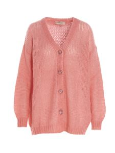 Twin-Set - Oversized cardigan in Peach Blossom color