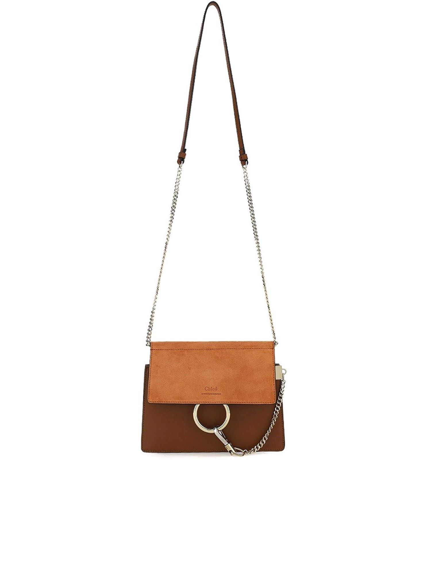 Chloé FAYE TWO-TONE BAG IN BROWN