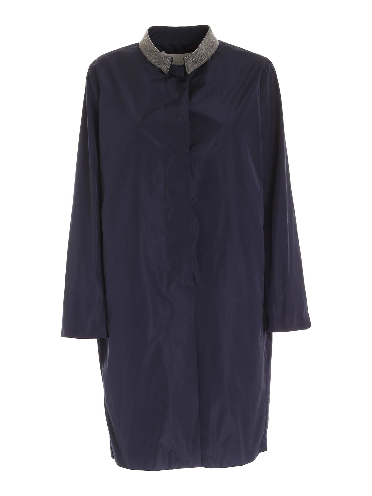 Fabiana Filippi COAT WITH EMBELLISHED COLLAR IN BLUE