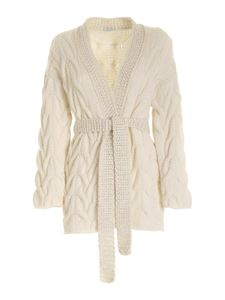 malo - Oversized cable cardigan in cream color