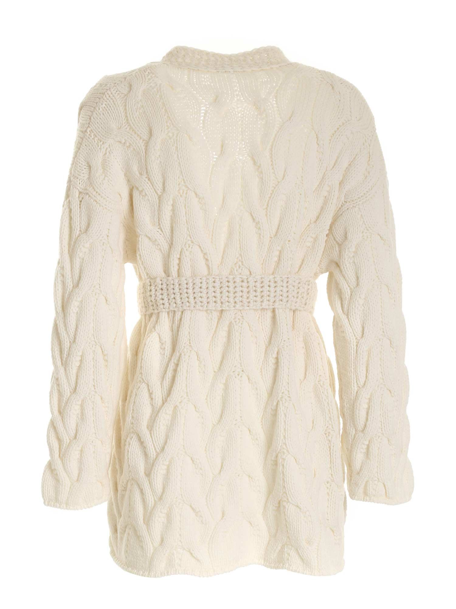 MALO Silks OVERSIZED CABLE CARDIGAN IN CREAM COLOR