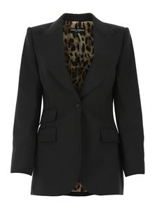 Dolce & Gabbana - Single-breasted blazer in black and animalier