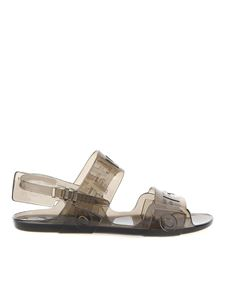 Off-White - Logo lettering jelly sandals in grey