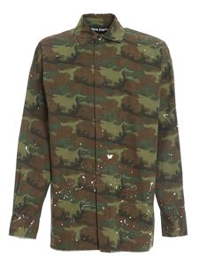 Palm Angels - Branded camouflage shirt in green