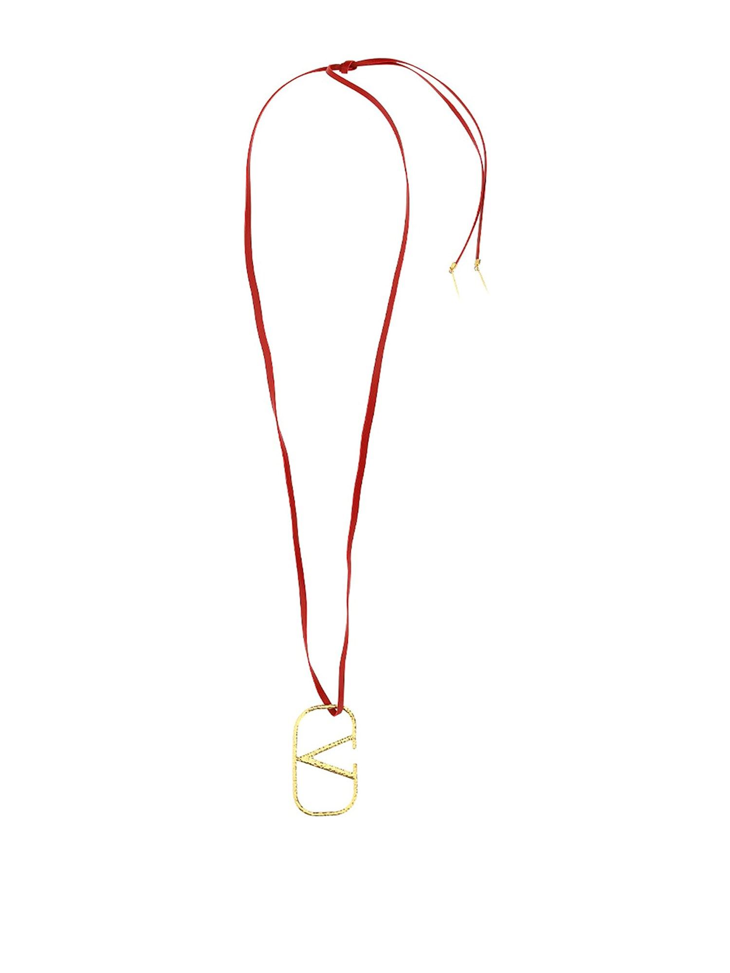 Valentino VLOGO LEATHER NECKLACE IN RED