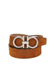 Salvatore Ferragamo - Gancini suede belt in brown