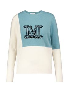 Max Mara - Caimano pullover in white and light blue