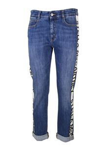 Stella McCartney - Logo band cropped jeans in blue