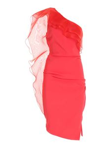 Elisabetta Franchi - One-shoulder dress with ruffles in red