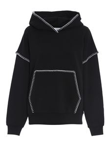 Dondup - Embroidered cotton hoodie in black