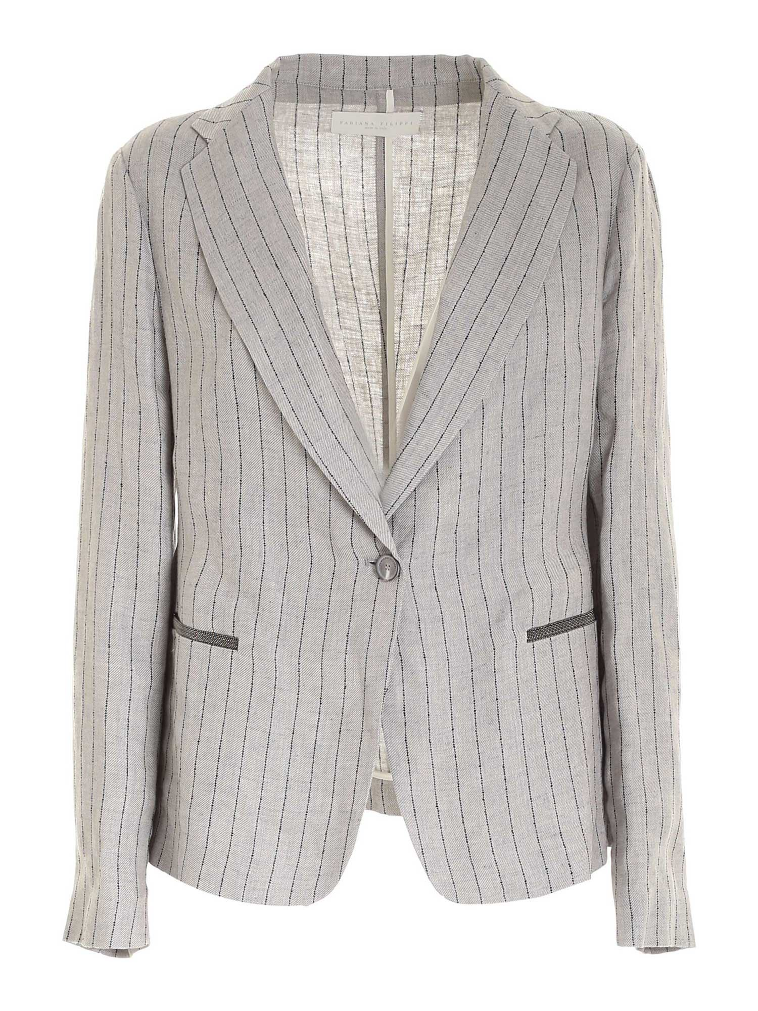 Fabiana Filippi MICRO BEADS JACKET IN GREY